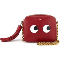 Rental Anya Hindmarch Vampire Circus Eyes Crossbody (685 PEN) ❤ liked on Polyvore featuring bags, handbags, shoulder bags, red, leather crossbody, genuine leather shoulder bag, leather crossbody handbags, leather crossbody purse and red purse