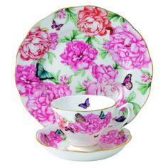 Amazon.com: Royal Albert Wdzięczność 3-częściowy Filiżanka do herbaty, spodek i Plate Set Zaprojektowany przez Miranda Kerr: Kuchnia i jadalnia