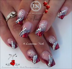 Luminous nails red silver acrylic christmas winter gel nail designs with glitter - small Red And Silver Nails, Silver Nail Art, Red Nails, Silver Glitter, Nail Pink, Orange Nail, Nail Art Rhinestones, Red Christmas Nails, Xmas Nails