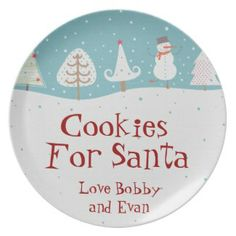 Personalized name santa cookie plates #Santascookies #Christmaseve #tradition #personalplates