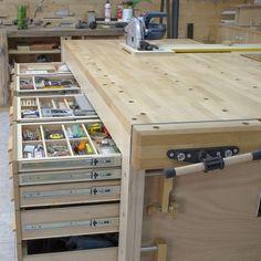 Build a Garage Workbench With Storage! Build a workbench for your garage worksh.Build a Garage Workbench With Storage! Build a workbench for your garage worksh. - Build a Garage Workbench With Storage! Woodworking Bench Plans, Woodworking Workshop, Woodworking Furniture, Woodworking Shop, Woodworking Projects, Woodworking Techniques, Youtube Woodworking, Woodworking Equipment, Rockler Woodworking