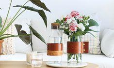DIY anse en cuir pour carafe ou vase. Sur Mademoiselle Claudine le blog.
