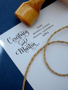 Custom Calligraphy Address Stamp -- Side by Side Calligraphy and Type -- Vintage Reserve Style. $44.50, via Etsy.