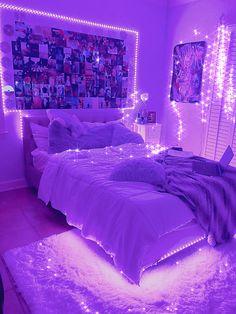 Neon Bedroom, Cute Bedroom Decor, Room Design Bedroom, Girl Bedroom Designs, Teen Room Decor, Room Ideas Bedroom, Light Bedroom, Bedroom Inspo, Bedroom Ideas Purple