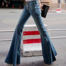 2016 novo jeans de cintura alta breasted mulheres flared calças largas calças de pernas finas maré calças jeans casuais plus size alishoppbrasil