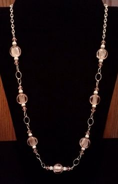 Handmade Beaded Necklace with Pink Silver by KimsSimpleTreasures, $20.00