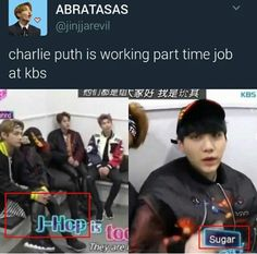 I was like what even is this abt.. Wait Bahahahaha! J-hop, Sugar and not to mention Jungcook are also my faves Charlie!! xD
