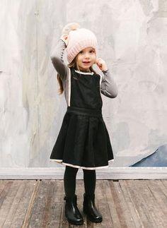 Vierra Rose Isla Jumper Dress in Black - D3016