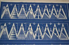 Swedish handprinted textile tablecloth design Maud Fredin Fredholm scandinavian 60s