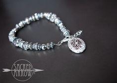 "7"" Silver Beaded Diffuser Bracelet – Sacred Arrow"