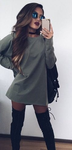 summer outfits Grey Dress / Black OTK Boots http://www.allthingsvogue.com/best-affordable-over-the-knee-boots/