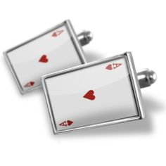 "Neonblond Cufflinks ""Ace of Hearts - Ace / card game"" - cuff links for man NEONBLOND Cufflinks. $29.90. We have more then 4000 different Cufflinks. Unique Gift for the Modern Classic Man. Products are Assembled in America. Standard Size is approximately 19mm x 12mm. Comes with our Free Velvet / Satin Bag. Save 50% Off!"