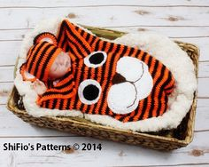 CROCHET PATTERN For a Baby Tiger Cocoon & Hat in 3 Sizes PDF  271 Digital Download by shifio on Etsy https://www.etsy.com/listing/175992003/crochet-pattern-for-a-baby-tiger-cocoon