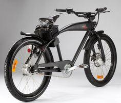 L'Italjet Diablo, un vélo électrique au look de Custom rétro /// The Italjet Diablo, a custom-style retro electric bicycle.