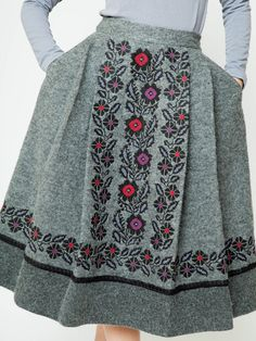 Embroidered grey wool skirt Originality by Handembroiderykvitka
