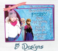 Planning a Frozen birthday party for a little girl you know? Check out these personalized invitations on Etsy. #frozen