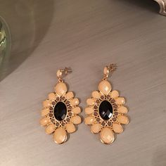 Selling this 🛍 Peach Black Chandelier Jeweled Earrings in my Poshmark closet! My username is: saccardi. #shopmycloset #poshmark #fashion #shopping #style #forsale #Independent Designer #Jewelry
