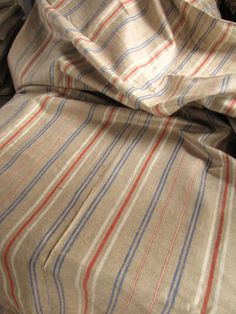 blue and red linen ticking, love for a sofa
