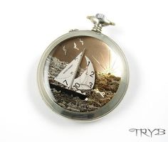 Big 3D sailboat at sunset - all in watch parts. #handmade  #clockwork #sailing #boat #medallion