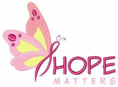 """Hope Matters Butterfly embroidery design for machine embroidery (2.99"""" x 4.02"""") Only $5.00"""