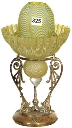 "10"" YELLOW AND WHITE NAILSEA ART GLASS FAIRY LAMP ON : Lot 325  sold for $1400"