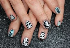 Black White Gray Chevron Glitter Nails by leximartone from Nail Art Gallery