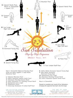 An 8.5 x 11 POSTER beautifully illustrates the SUN SALUTATION SEQUENCE (Surya Namaskara). Drawn by an artist and yoga instructor, each of the 12 poses shows correct alignment and placement along with the names in English and Sanskrit. The shop also has a 20-page book that explains each pose in detail. The poster is laminated to use anywhere. Namaste!