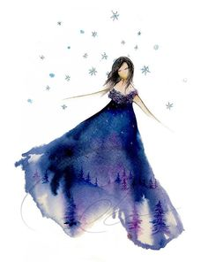 Silent Night - Art Print graceful watercolor painting cute girl's pajamas dancing snow girl winter nightgown fashion sketch Oladesign 8x10