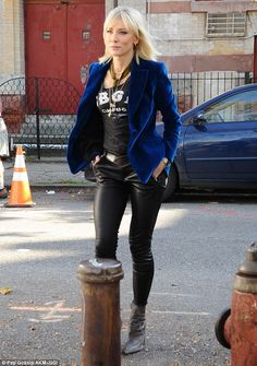 Quite a team! Cate Blanchett wore a bright blue blazer and black, leather trousers as she arrived on set on Wednesday