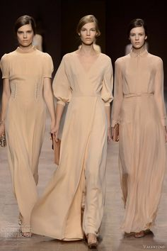 valentino spring summer 2013 pale peach beige dresses with sleeves (love the middle one!!)