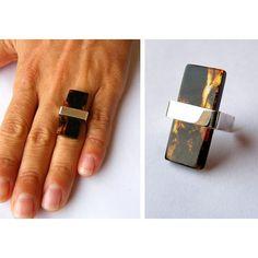 Anillo Amber Ring amberstone genuino pulido plata esterlina