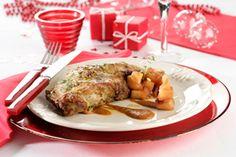 Receta de cabrito asado con chutney de manzanas | El Blog de Carbonell Carne Asada, Goats, Chicken, Food, Vegetables, Holiday Foods, Apple Chutney, Cooking Tips, Entrees
