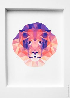 Lion portrait Lion king Geometric print Original by tinykiwiprints 11.7x16.5 = $35 (put in floating silver frame) for Bed room or bathroom?