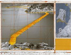 Christo and Jeanne-Claude's Floatig Pier project - Collage, 2014 17 x 22″ (43.2 x 55.9 cm) /pencil, wax crayon, enamel paint, photograph by wolfgang volz, map, fabric sample and tape