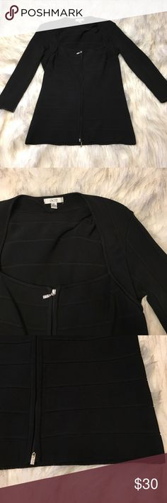 NWOT Cache Zip Up Sweater Beautiful and classy, zip up sweater with squared neck line by Cache. Perfect condition, Cache Sweaters