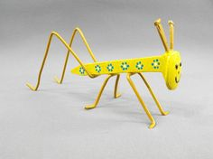 Bright Yellow Folk Art Painted Metal Yard by OurUniquePerspective,