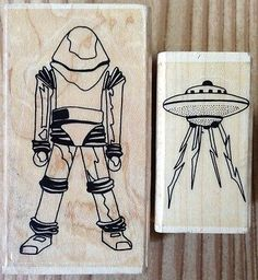 Lot of 2 Space Theme Marks of Distinction Rubber Stamps Spaceman UFO Alien | eBay