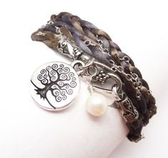 Wrap Bracelet Braided Satin and Chain with Tree of Life