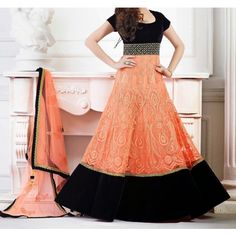 Embroidery Orange And Black Georgette Long Anarkali Suit @Looksgud.in #OrangeAndBlack, #Georgette, #Anarkali