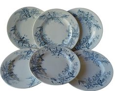French Vintage Set of Six Dinner Luneville KG Majolica Plates - Colibri Hummingbird Pattern - Blue Transferware - French Country Cottage