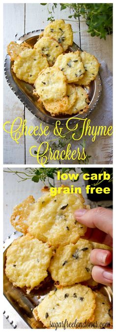 Crunchy and incredibly cheesy: These gluten free and low carb cheese thyme crackers are made with coconut flour. Perfect as a satiating snack or as a grain free side for a salad or soup.