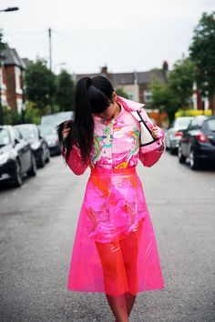 Susie Bubble wearing vintage Ralph Lauren shirt from Fruition LV, pink plastic skirt from Round 2 LA, Nasir Mazhar jacket, Dior trainers