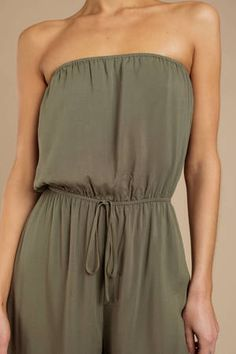 Sounds So Easy Olive Strapless Jumpsuit Gold Jumpsuit, Black Strapless Jumpsuit, Beach Jumpsuits, Jumpsuits For Women, Lace Up Sandals, Black Models, Autumn Fashion, Dress Up, My Style
