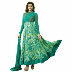 bac2f36a58 Generic Aryan Fashion Women's Georgette Long Anarkali Semi-Stitched Suit  Anarkali Churidar, Long Anarkali
