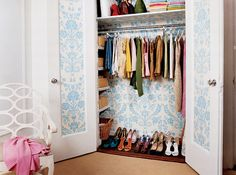 """Think outside the box when it comes to how you decorate. Not everything needs to be loud and in your face. Waking up to a closet that looks like this would be a nice way to start the day. Don't you think?  """"St. Antoine"""" by Farrow & Ball (BP943)"""