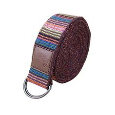 Cotton Red Yoga Strap With Metal Ring Buckle