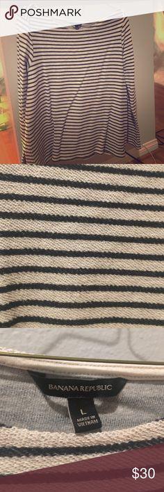 Banana republic wide boatneck striped sweater new Banana Republic stripe navy and grey wide boatneck sweater. Sweater material, super luxe and comfortable Banana Republic Sweaters Crew & Scoop Necks