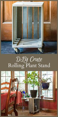 This DIY Crate turned rolling plant stand tutorial is super easy, and a huge help when moving a heavy plant from one place to another.