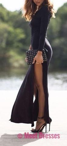 Here are 30 street style outfits that show you different ways to wear a black dress. Maxi Dress With Slit, Dress Skirt, Dress Up, Bodycon Dress, Edgy Dress, Sexy Skirt, Dress Formal, Dress Prom, Dress Lace