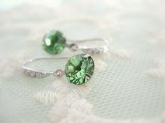 Crystal swarovski earrings in green by beadpod8 on Etsy, $18.00